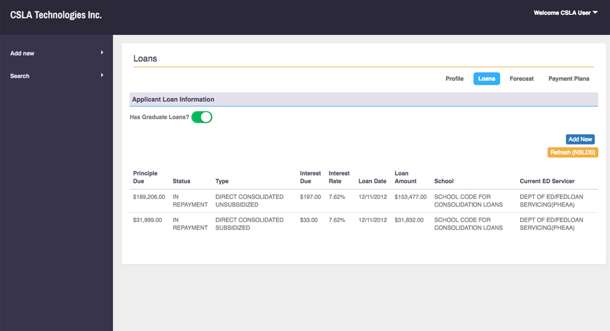 Import student loan data from NSLDS to your client analysis